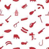 Slager en vlees het naadloze patroon van winkelpictogrammen stock illustratie