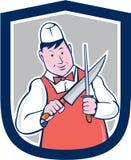 Slager Sharpening Knife Cartoon Stock Afbeeldingen