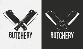 Slager Shop Logo Gekruiste vleesmessen op een witte en zwarte achtergrond De textuur van Grunge Vector illustratie stock illustratie
