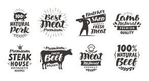 Slagerij, etiketten Vlees, rundvlees, varkensvlees, lams vastgestelde pictogrammen Van letters voorziende Vectorillustratie royalty-vrije illustratie
