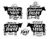 Slagerij, het etiketreeks van de barbecuepartij Vlees, rundvleeslapje vlees, bbq pictogram of embleem Van letters voorziende Vect stock illustratie