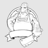 Slagerschef-kok in de vorm van teken. Tekening uit de vrije hand Royalty-vrije Stock Fotografie