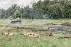 Slagfält efter attack Arkivfoto