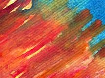 Slaglängder för apelsin för abstrakt begrepp för vattenfärgkonstbakgrund purpurfärgade röda orange färgrika texturerade röda Arkivbilder