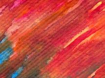 Slaglängder för apelsin för höst för abstrakt begrepp för vattenfärgkonstbakgrund färgrika texturerade röda Arkivbild