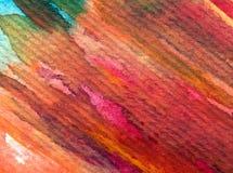 Slaglängder för apelsin för höst för abstrakt begrepp för vattenfärgkonstbakgrund färgrika texturerade röda Royaltyfria Foton