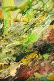 Slaglängder för borste för abstrakt tappningmålarfärg färgrika, hypnotisk bakgrund för organisk textil Royaltyfria Foton