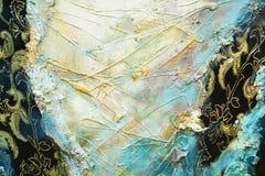 Slaglängder för borste för textil för abstrakt målarfärgbrunt guld-, hypnotisk bakgrund för organisk textil Royaltyfri Foto