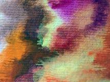 Slaglängder för höst för abstrakt begrepp för vattenfärgkonstbakgrund färgrika texturerade varma Arkivbilder