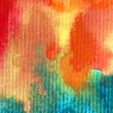 Slaglängder för höst för abstrakt begrepp för vattenfärgkonstbakgrund färgrika texturerade varma Royaltyfri Bild