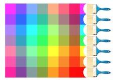 Slaglängder för målarfärgborste och färger av regnbågen Royaltyfria Foton