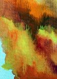 Slaglängder för orange guling för höst för abstrakt begrepp för vattenfärgkonstbakgrund färgrika texturerade röda varma Royaltyfri Fotografi