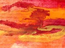 Slaglängder för orange guling för höst för abstrakt begrepp för vattenfärgkonstbakgrund färgrika texturerade röda varma Arkivbilder