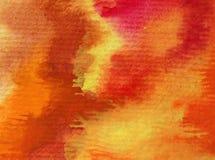 Slaglängder för orange guling för höst för abstrakt begrepp för vattenfärgkonstbakgrund färgrika texturerade röda varma Arkivbild
