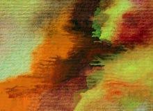 Slaglängder för orange guling för höst för abstrakt begrepp för vattenfärgkonstbakgrund färgrika texturerade röda varma Royaltyfria Bilder