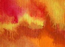 Slaglängder för orange guling för höst för abstrakt begrepp för vattenfärgkonstbakgrund färgrika texturerade röda varma Fotografering för Bildbyråer
