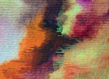 Slaglängder för orange guling för höst för abstrakt begrepp för vattenfärgkonstbakgrund färgrika texturerade röda varma Royaltyfri Foto