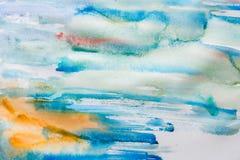 Slaglängder för vattenfärgmålarfärgborste på pappers- textur arkivbild