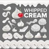 Slagroom Vastgestelde Vector Witte Romige Werveling Het Dessert van de vanillemelk Zacht Decoratiepictogram Schuimend Zoet Suiker vector illustratie