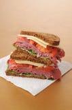 Slags konserverad skinkasmörgås på rye fotografering för bildbyråer