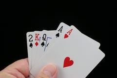 slags poker två för hand Fotografering för Bildbyråer