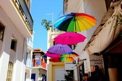 Slags solskydd shoppar, Skiathos, Grekland Arkivfoton