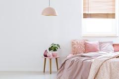 Slags tvåsittssoffa det kvinnliga sovrummet med rosa färger bäddar ned, dekorativa kuddar och pl arkivbild