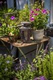 Slags tvåsittssoffaträdgård med blommor Arkivfoto