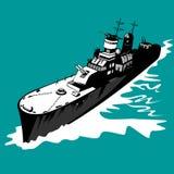 Slagschip met grote kanonnen Stock Afbeeldingen