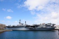 Slagschip in San Diego stock afbeeldingen
