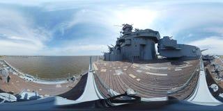 Slagschip USS Alabama, dek van gepantserde schipmening 360 VR Royalty-vrije Stock Foto