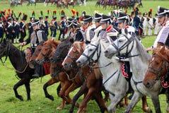 Slagscène Cavalerieaanvallen Royalty-vrije Stock Afbeeldingen