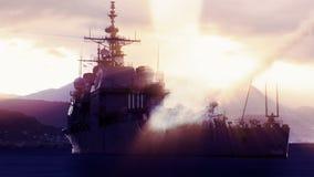 Slagskepp som avfyrar av en missil för långt område royaltyfri illustrationer