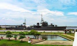 Slagskeppmuseum för HTMS Maeklong Royaltyfri Foto
