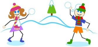 slagsmål kastar snöboll stock illustrationer