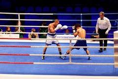 Slagsmål mellan participans av boxningmatchen WSB Arkivfoton