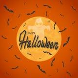 Slagträn flyger mot fullmånen På en orange bakgrund Spöke och inskrift halloween stock illustrationer