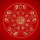 5 slagträn runt om långt liv för kinesiskt symbol Fotografering för Bildbyråer