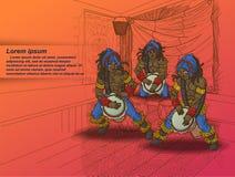 3 slagwerker met clubachtergrond in het schetsen van stijl stock illustratie