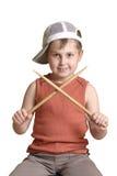 Slagwerker met gekruiste trommelstokken stock afbeeldingen