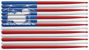 Slagwerkervlag met drumstel en trommelstokken geïsoleerde vectorillustratie stock afbeelding
