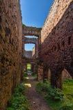 Slains Castle main passage ruins UK Scotland Stock Photos