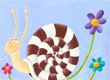 Slak en bloemen Stock Afbeeldingen