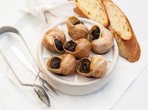 Slakken als Frans gastronomisch voedsel stock fotografie
