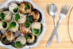 Slakken als Frans gastronomisch voedsel royalty-vrije stock fotografie
