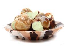 Slakken als gastronomisch voedsel royalty-vrije stock foto's