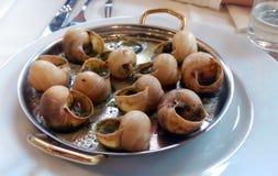 Slakken en zeevruchten op een plaat worden gediend die Royalty-vrije Stock Foto's