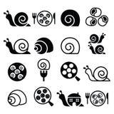 Slakken, Franse slakmaaltijd - geplaatste escargotpictogrammen Royalty-vrije Stock Fotografie