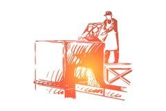 Slakt matfabriksanst stock illustrationer