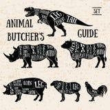 Slakt shoppar djuruppsättningen stock illustrationer